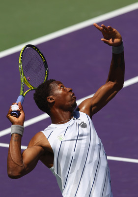 KEY BISCAYNE, FL - MARCH 24:  Gael Monfils of France serves against Sergei Bubka of the Ukraine in their second round match at the Sony Ericsson Open at Crandon Park Tennis Center on March 24, 2012 in Key Biscayne, Florida.  (Photo by Clive Brunskill/Gett