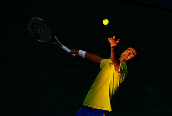 KEY BISCAYNE, FL - MARCH 26:  Marin Cilic of Croatia in action against Juan Martin Del Potro of Argentina during Day 8 of the Sony Ericsson Open at Crandon Park Tennis Center on March 26, 2012 in Key Biscayne, Florida.  (Photo by Mike Ehrmann/Getty Images