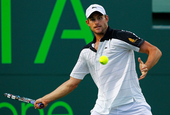 KEY BISCAYNE, FL - MARCH 27:  Andy Roddick in action against Juan Monaco of Argentina during Day 9 of the Sony Ericsson Open at Crandon Park Tennis Center on March 27, 2012 in Key Biscayne, Florida.  (Photo by Mike Ehrmann/Getty Images)