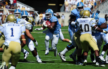 ATLANTA - SEPTEMBER 24: Giovani Bernard #26 of the North Carolina Tar Heels carries the ball against the Georgia Tech Yellow Jackets at Bobby Dodd Field on September 24, 2011 in Atlanta, Georgia. Photo by Scott Cunningham/Getty Images)