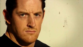Pictured: Wade Barrett mugging for the camera after blowing up James Bond in a cave.