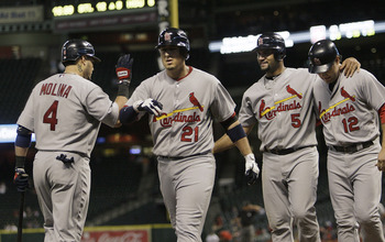 Three Cardinals who have replaced Albert Pujols at first in 2012.