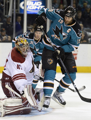 Joe Thornton does not use his body enough around the net and is too reluctant to shoot
