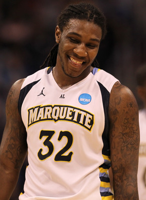 PHOENIX, AZ - MARCH 22:  Jae Crowder #32 of the Marquette Golden Eagles reacts while taking on the Florida Gators during the 2012 NCAA Men's Basketball West Regional Semifinal game at US Airways Center on March 22, 2012 in Phoenix, Arizona.  (Photo by Jam