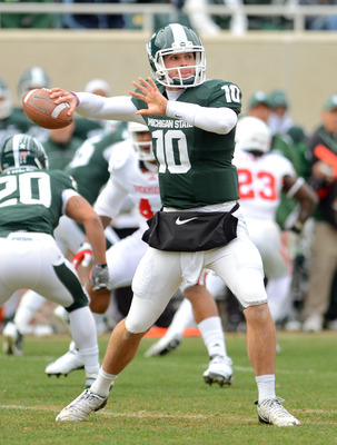 The starting QB job at Michigan State rests in the hands of Andrew Maxwell—for now.