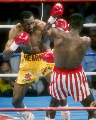 Tommy Hearns giving Sugar Ray Leonard hell