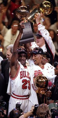 Jordan and Pippen Celebrating 'ship number five in 1997