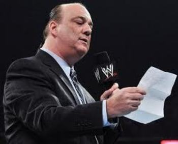 Paul Heyman on RAW. Courtesy of WWE