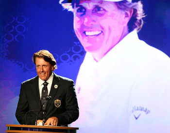 Phil Mickelson was inducted into the World Golf Hall of Fame on Monday evening.
