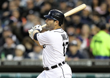 DETROIT, MI - APRIL 24: Alex Avila #13 of the Detroit Tigers hits a two run home run scoring Prince Fielder #28 in the fourth inning during the game against the Seattle Mariners at Comerica Park on April 24, 2012 in Detroit, Michigan.  (Photo by Leon Hali