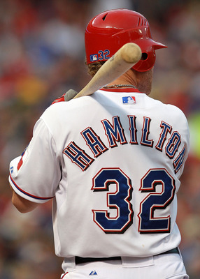 ARLINGTON, TX - APRIL 07:  Josh Hamilton #32 of the Texas Rangers at Rangers Ballpark in Arlington on April 7, 2012 in Arlington, Texas.  (Photo by Ronald Martinez/Getty Images)