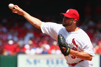 ST. LOUIS, MO - MAY 3: Starter Jake Westbrook #35 of the St. Louis Cardinals pitches against the Pittsburgh Pirates at Busch Stadium on May 3, 2012 in St. Louis, Missouri. (Photo by Dilip Vishwanat/Getty Images)