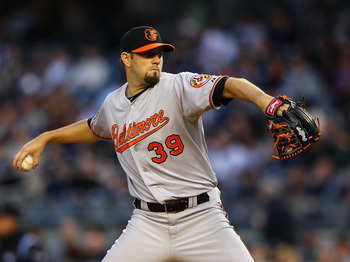 NEW YORK, NY - APRIL 30:  Jason Hammel #39 of the Baltimore Orioles pitches against the New York Yankees during their game on April 30, 2012 at Yankee Stadium in the Bronx borough of New York City.  (Photo by Al Bello/Getty Images)