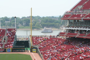 A Ferry Chugs Along the Ohio River Outside GABP
