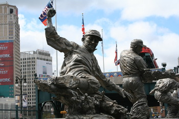 Ty Cobb Slides Among the Statues at Comerica Park