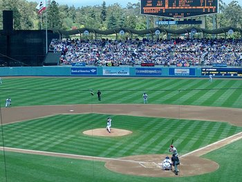 Game Action at Dodger Stadium