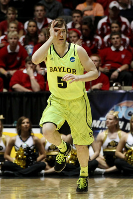 ALBUQUERQUE, NM - MARCH 17:  Brady Heslip #5 of the Baylor Bears celebrates hitting a 3-point shot in the first half of the game against the Colorado Buffaloes during the third round of the 2012 NCAA Men's Basketball Tournament at The Pit on March 17, 201