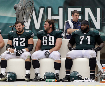 From left to right: #62 Jason Kelsey, #69 Evan Mathis, #71 Jason Peters.