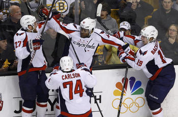 Joel Ward and the Capitals celebrate their Game 7 victory over the Bruins in the opening round. Brian Snyder/Reuters