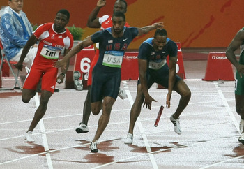 A missed handoff from teammate Darvis Patton cost Gay and the 4x100 relay team to be disqualified in Beijing. Gay also missed the finals in the 100 meters.