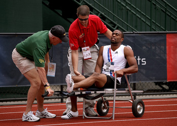Gay went down in the 200 meters at the 2008 Olympic Trials.