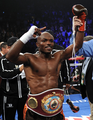 LAS VEGAS, NV - NOVEMBER 12:  Timothy Bradley celebrates his eighth round TKO victory against Joel Casamayor in their WBO junior welterweight title fight at the MGM Grand Garden Arena on November 12, 2011 in Las Vegas, Nevada.  (Photo by Harry How/Getty I