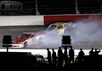 Ryan Newman(39) and Kurt Busch(51) tangled late at Darlington