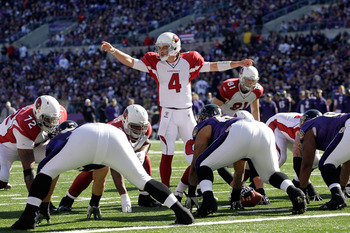 BALTIMORE, MD - OCTOBER 30:  Kevin Kolb #4 of the Arizona Cardinals calls a play at the line of scrimmage against the Baltimore Ravens at M&amp;T Bank Stadium on October 30, 2011 in Baltimore, Maryland. The Baltimore won 30-27.  (Photo by Rob Carr/Getty Image