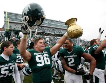 Michigan State after claiming the Old Brass Spittoon against Indiana.