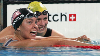 Natalie Coughlin won the bronze in the 100-meter freestyle in Athens.