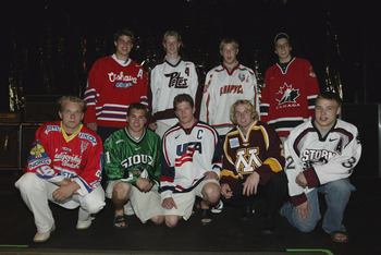 "Parise in Green, Suter wearing ""C"" from Team USA's National Development Team in 2003."
