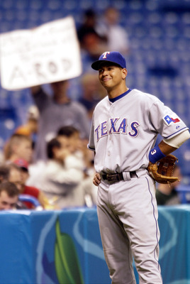 Texas Rangers shortstop Alex Rodriguez waits for a throw  July 17, 2000 at Tropicana Field, St. petersburgh, Florida. (Photo by A. Messerschmidt/WireImage)