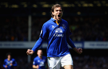 Croatian Nikica-Jelavic has helped Everton rise above Liverpool
