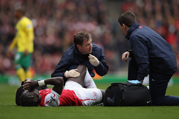 Bacary Sagna broke his fibula for the second time against Norwich on 5 May.