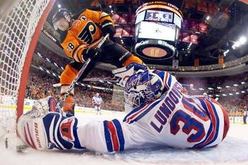 Rangers goaltender and Flyers center Claude Giroux both have a good chance at gracing the cover of EA Sports NHL '13.