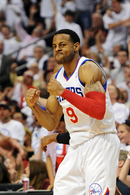 PHILADELPHIA, PA - MAY 18: Andre Iguodala #9 of the Philadelphia 76ers celebrates after making a three point shot in the fourth quarter during the game against the Boston Celtics in Game Four of the Eastern Conference Semifinals in the 2012 NBA Playoffs a