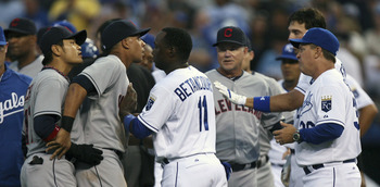 Choo at far left after getting hit by pitch against the Royals.