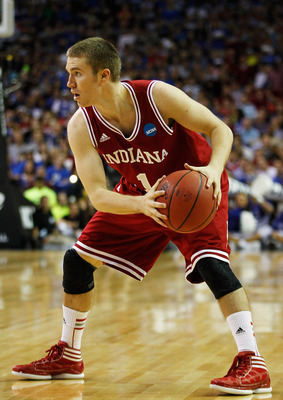 ATLANTA, GA - MARCH 23:  Jordan Hulls #1 of the Indiana Hoosiers controls the ball against the Kentucky Wildcats during the 2012 NCAA Men's Basketball South Regional Semifinal game at the Georgia Dome on March 23, 2012 in Atlanta, Georgia.  (Photo by Stre