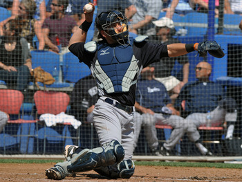 DUNEDIN, FL - MARCH 8:  Catcher Francisco Cervelli #17 of the New York Yankees throws against the Toronto Blue Jays  March 8, 2012 at Florida Auto Exchange Stadium in Dunedin, Florida. (Photo by Al Messerschmidt/Getty Images)
