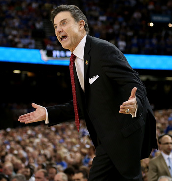 The extremely vocal Rick Pitino coaching in this year's NCAA Tournament.