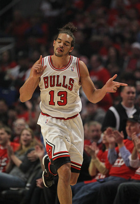 CHICAGO, IL - MAY 01:  Joakim Noah #13 of the Chicago Bulls celebrates hitting a shot against the Philadelphia 76ers in Game Two of the Eastern Conference Quarterfinals during the 2012 NBA Playoffs at the United Center on May 1, 2012 in Chicago, Illinois.