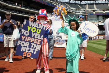 NEW YORK, NY - MAY 27:  Fans participate in 'Banner Day' prior to the game between the New York Mets and the San Diego Padres at Citi Field on May 27, 2012 in the Flushing neighborhood of the Queens borough of New York City.  (Photo by Jim McIsaac/Getty I