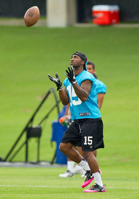 Carolina Panthers rookie Joe Adams fields a punt at minicamp.