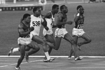 Jim Hines ran the 100 meters in 9.95 seconds in Mexico City.