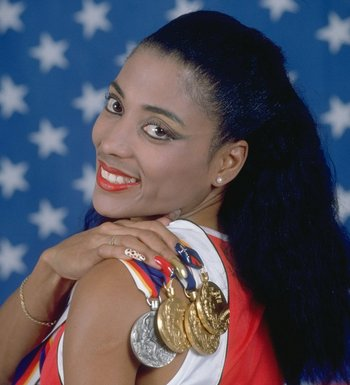 The late Flo-Jo with her 1988 Olympic haul.