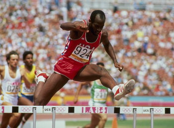 Edwin Moses at the 1984 Olympics in Los Angeles.