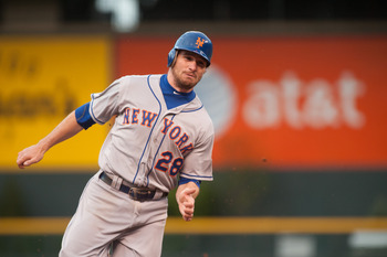 DENVER, CO - APRIL 28:  Daniel Murphy #28 of the New York Mets advances to third base during a game against the Colorado Rockies at Coors Field on April 28, 2012 in Denver, Colorado.  (Photo by Dustin Bradford/Getty Images)
