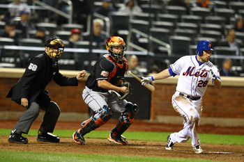 NEW YORK, NY - APRIL 24:  Daniel Murphy #28 of the New York Mets in action against the Miami Marlins during their game on April 24, 2012 at Citi Field in the Flushing neighborhood of the Queens borough of New York City.  (Photo by Al Bello/Getty Images)
