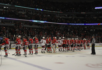 CHICAGO, IL - APRIL 23:  Members of the Chicago Blackhawks and the Phoenix Coyotes shake hands after Game Six of the Western Conference Quarterfinals during the 2012 NHL Stanley Cup Playoffs at the United Center on April 23, 2012 in Chicago, Illinois. The