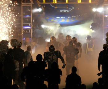 27 Jan 2002: The St. Louis Rams enter the field through a smoke a light show before the first half of their NFC Championship Game against the Philadelphia Eagles at the Dome at America's Center in St. Louis, Missouri. DIGITAL IMAGE. Mandatory Credit: Elsa